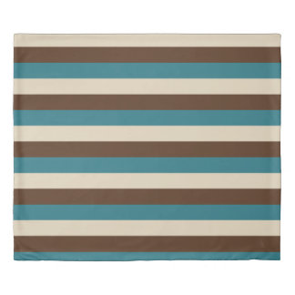 Teal Brown Beige Horizontal Stripes Duvet Cover