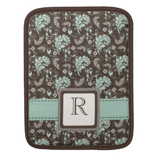 Teal Brown Damask iPad Sleeve