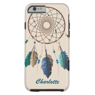 Teal & Brown Dream Catcher Custom Name Tough iPhone 6 Case