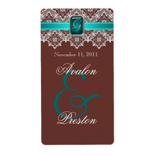 Teal & Brown Lace Jewelled Wedding Wine Label