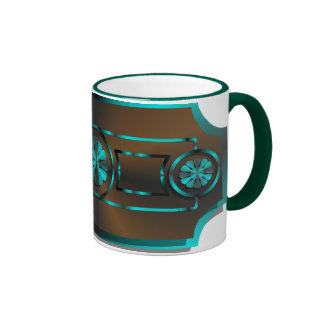 Teal & brown ringer mug