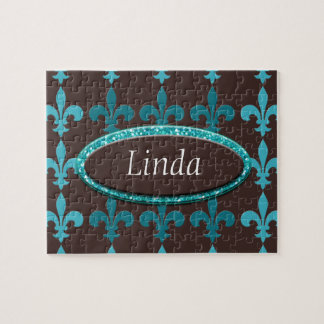 Teal & Brown Winter Fleur De Lis Monogram Jigsaw Puzzle