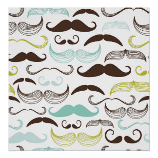 Teal, Brown & Yellow Mustaches Posters