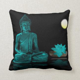 Teal Buddha and Lotus at Night Throw Pillow
