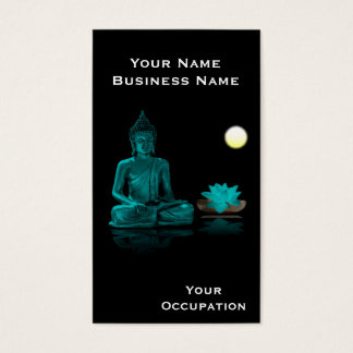 Teal Buddha and Lotus on Black Business Card