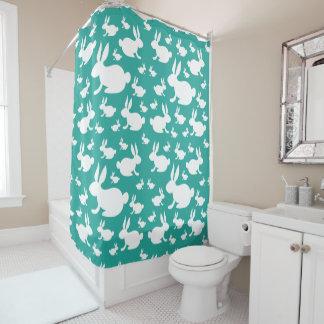 Teal Bunny Shower Curtain