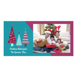 Teal Burgundy Holiday Wishes Christmas Trees Card