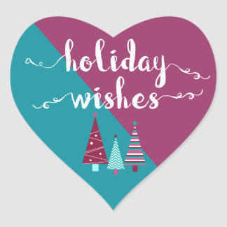 Teal Burgundy Holiday Wishes Christmas Trees Heart Sticker