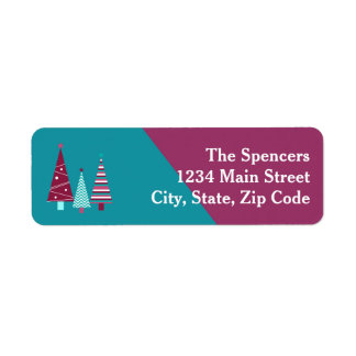 Teal Burgundy Holiday Wishes Christmas Trees Label Return Address Label