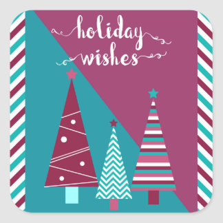 Teal Burgundy Holiday Wishes Christmas Trees Square Sticker