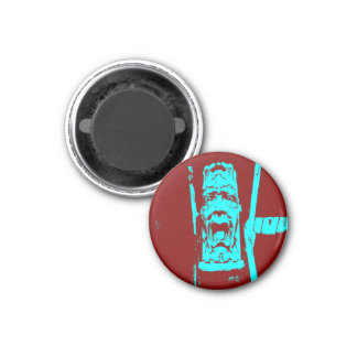 Teal/Burgundy Weird Face Small Round Magnet