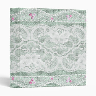 Teal Burlap and Lace Shabby Chic EZD 3 Ring Binder