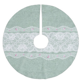Teal Burlap and Vintage Lace Tree Skirt Brushed Polyester Tree Skirt