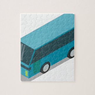 Teal Bus Jigsaw Puzzle