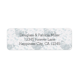 Teal Butterflies with Leaves Return Address Label