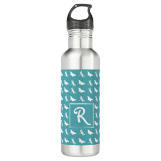 Teal Butterfly and Dragonfly Pattern 710 Ml Water Bottle