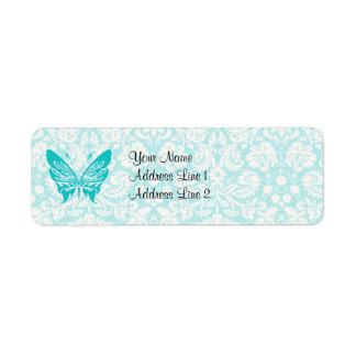Teal Butterfly; Damask Pattern Return Address Label