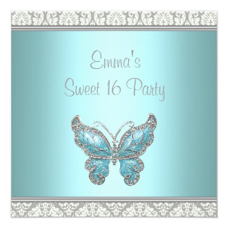Teal Butterfly Damask Sweet 16 Party Card