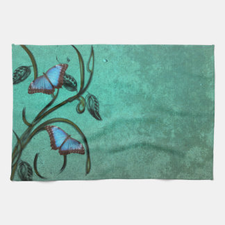 Teal Butterfly Pair Kitchen Towel