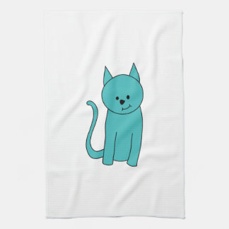 Teal Cat. Kitchen Towel