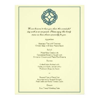 Teal Celtic Eternity Knot Wedding Menu