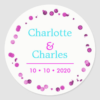 Teal Cerise Pink Elegant Personalized Classic Round Sticker
