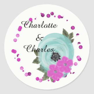 Teal Cerise Pink Elegant Watercolor Floral Classic Round Sticker