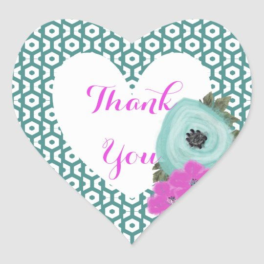 Teal Cerise Pink Elegant Watercolor Floral Heart Sticker
