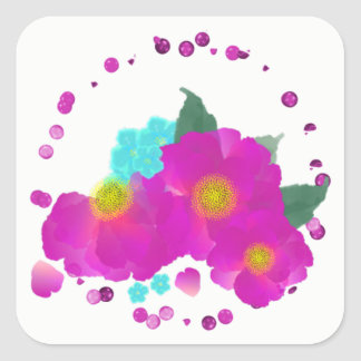 Teal Cerise Pink Elegant Watercolor Floral Square Sticker