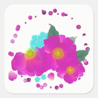 Teal Cerise Pink Elegant Watercolor Floral Square Sticker
