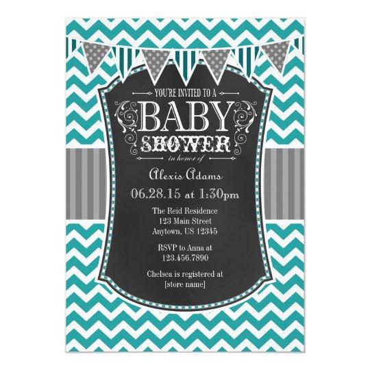 Teal Chalkboard Chevron Baby Shower Invite