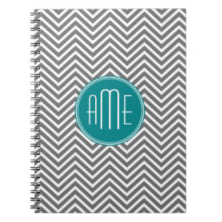 Teal Charcoal Chevrons Custom Monogram Note Book