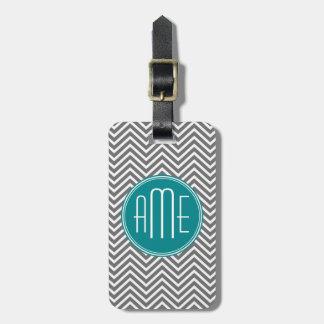Teal Charcoal Chevrons Custom Monogram Tags For Bags