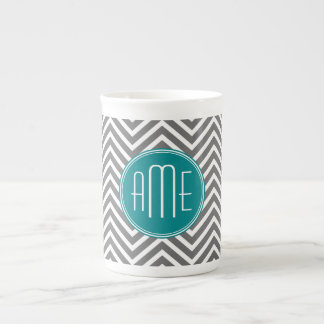Teal Charcoal Chevrons Custom Monogram Tea Cup
