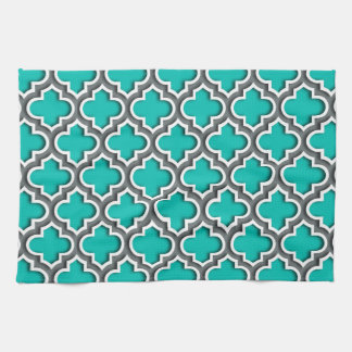 Teal Charcoal Gray White Moroccan Quatrefoil #5DS Kitchen Towel