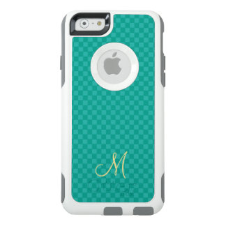 Teal Check Pattern Monogram OtterBox iPhone Case