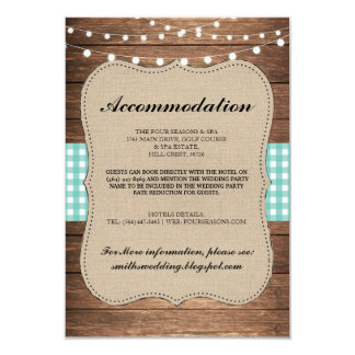 Teal Check Rustic Accommodation Wood Wedding Cards