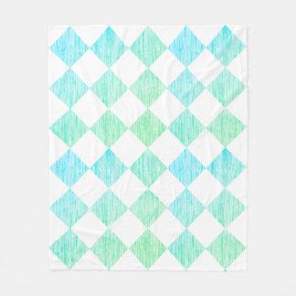 Teal Checkered Fleece Blanket