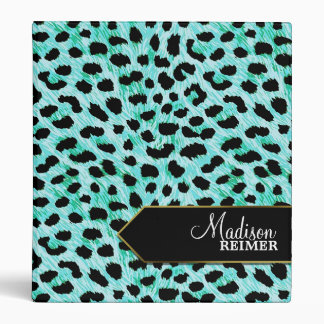 Teal Cheetah Personalized Vinyl Binder
