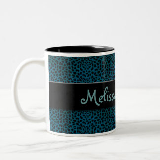 Teal Cheetah Print with Black and Name Two-Tone Coffee Mug