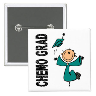 Teal CHEMO GRAD 1 (Ovarian Cancer) 2 Inch Square Button