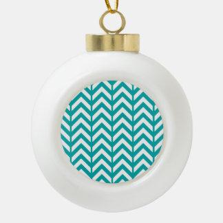 Teal Chevron 3 Ceramic Ball Ornament