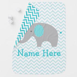 Teal Chevron Elephant Nursery Baby Blanket