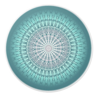 Teal Chevron Mandala Pattern Ceramic Knob