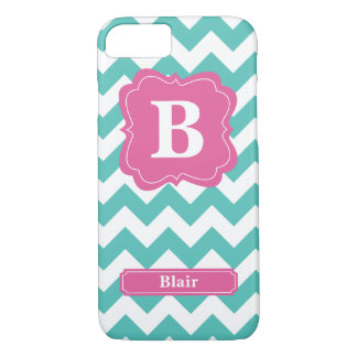 Teal Chevron Monogram iPhone 7 Case