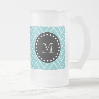 Teal Chevron Pattern | Black Monogram 16 Oz Frosted Glass Beer Mug