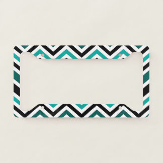 Teal Chevron Pattern License Plate Frame