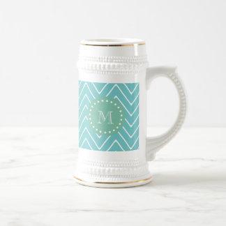 Teal Chevron Pattern | Mint Green Monogram 18 Oz Beer Stein