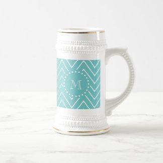 Teal Chevron Pattern | Teal Monogram 18 Oz Beer Stein