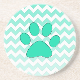 Teal Chevron Paw Zig Zag Monogram Beverage Coasters